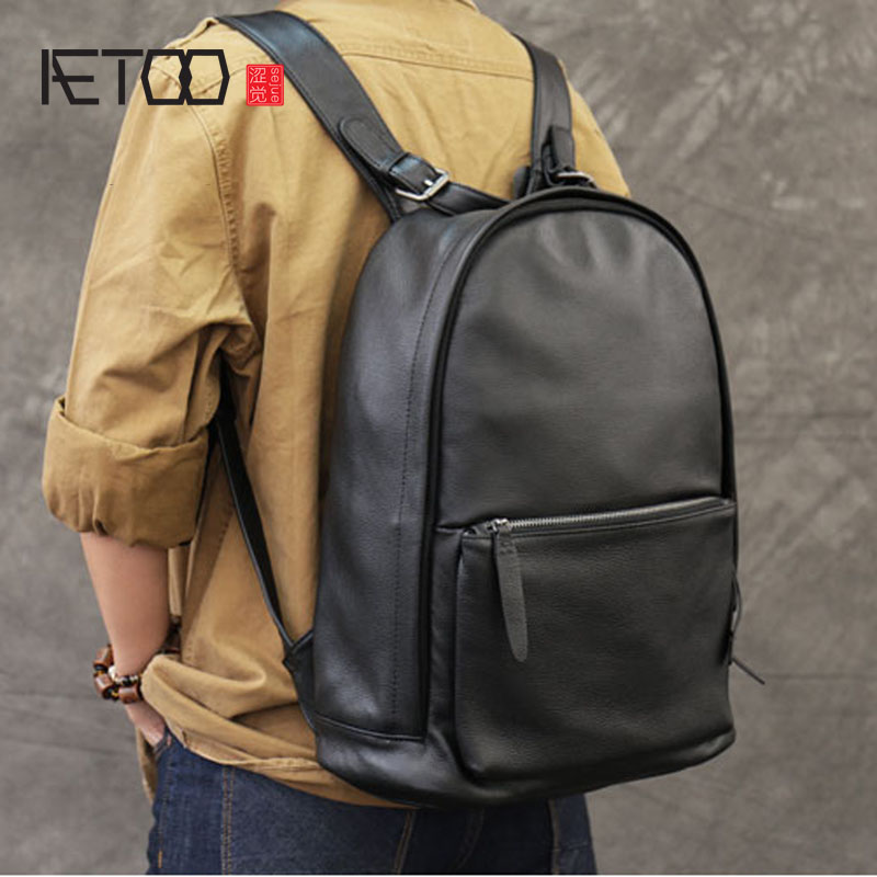 где купить AETOO Tide men and women common first layer of leather shoulder bag leather bag travel backpack по лучшей цене