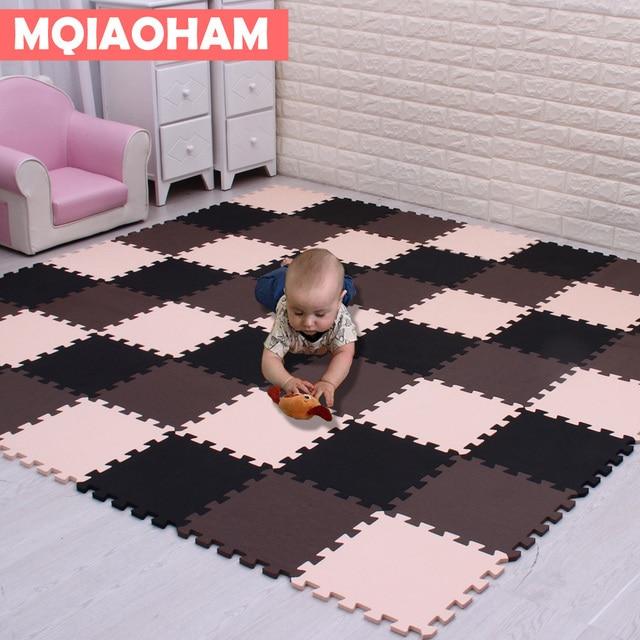 MQIAOHAM dziecko pianki EVA zagraj Puzzle Mat 18 sztuk/partia czarno-białe blokujące płytki podłogowe dywan i dywan dla dzieci Pad