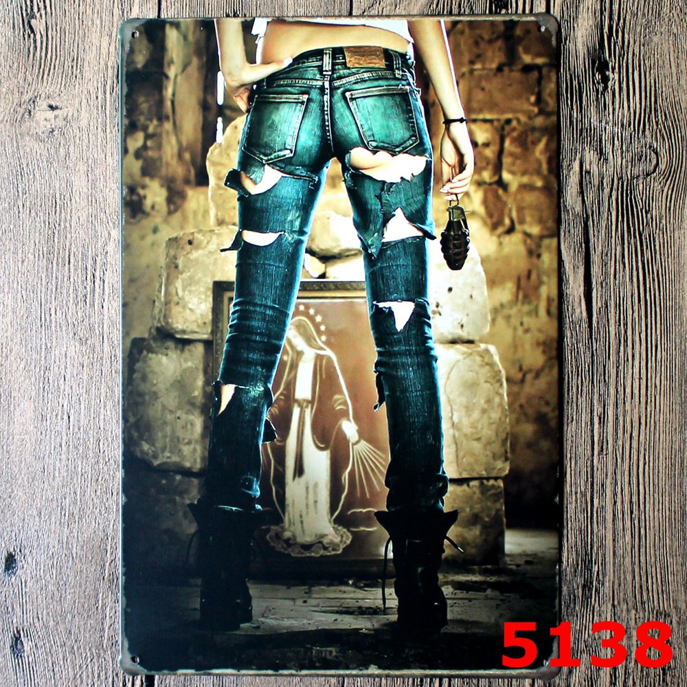 5138 Sexy Lady Metal Wall Sticker EUROPE STYLE Iron Tin Sign Iron Antique Tin Painting Pub DECOR Beer Shop Wall Sticker20X30CM