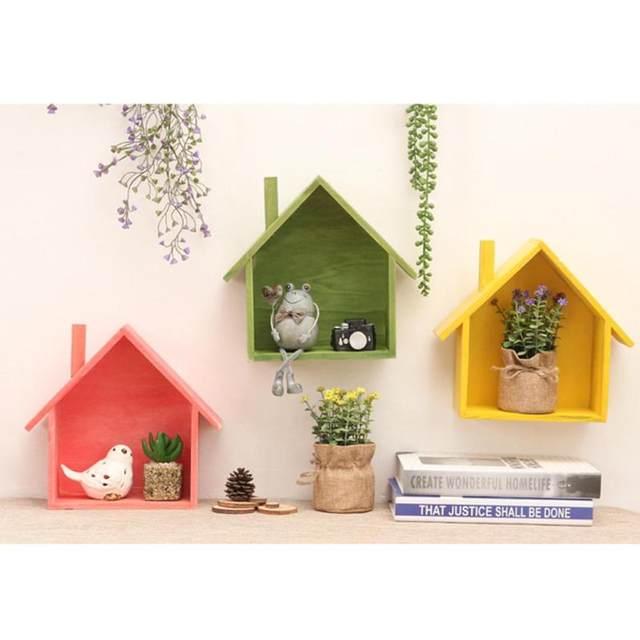 Kreative Retro Holz Wandregale Wohnzimmer Schlafzimmer DIY Wand Hängende  Dekoration Einfache Dekoration Zubehör A35