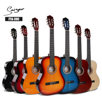 Basswood Classical Guitar Acoustic Electric Nylon String 39 Inch Guitarra 6 Strings Install Pickup Guitars Red Blue Yellow Black