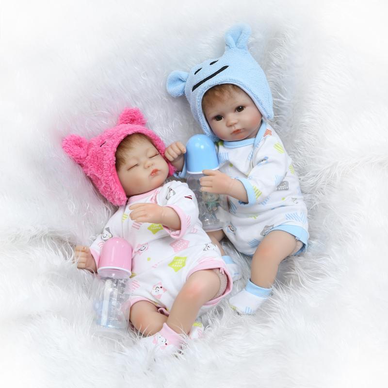 2017 Twins Bebe Reborn 42cm Silicone Dolls Lifelike Newborn Babies Toys Soft Touch Bonecas De Silicona