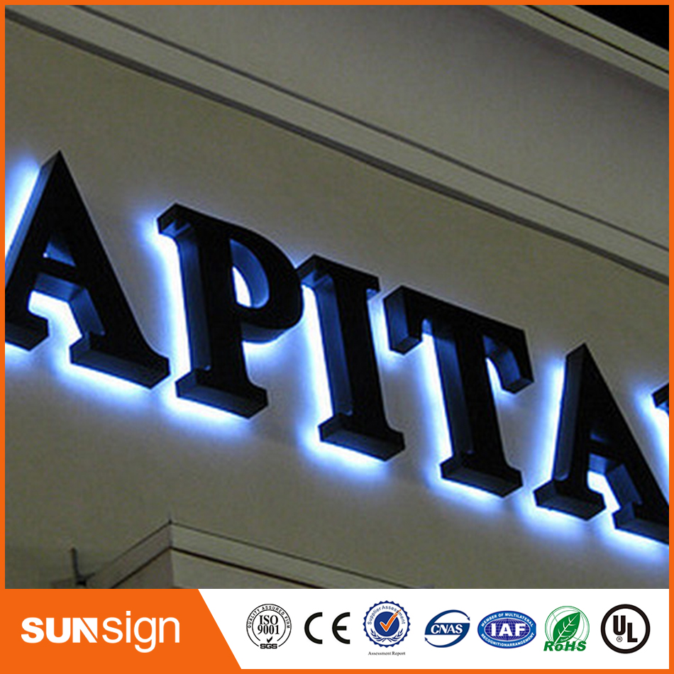 Led backlit stainless steel signs channel letters