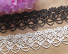 "10 yards width 4.5cm/1.77"" exquisite water soluble rose beads chain silk lace garment accessories high quality Venice lace trim(China)"