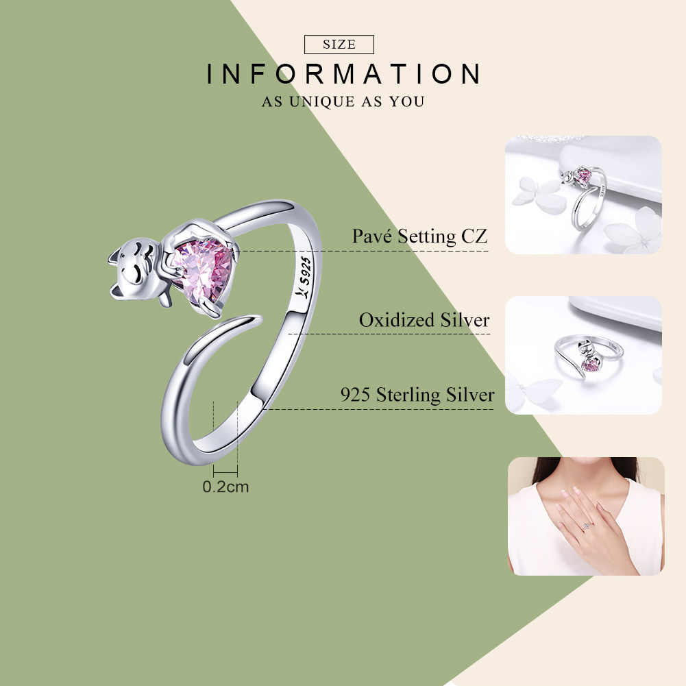 WOSTU ของแท้ 925 เงินน่ารักน่ารักแมวสัตว์เลี้ยง Love แหวนนิ้วสำหรับผู้หญิงสาวแหวน Anel เครื่องประดับของขวัญ CQR446