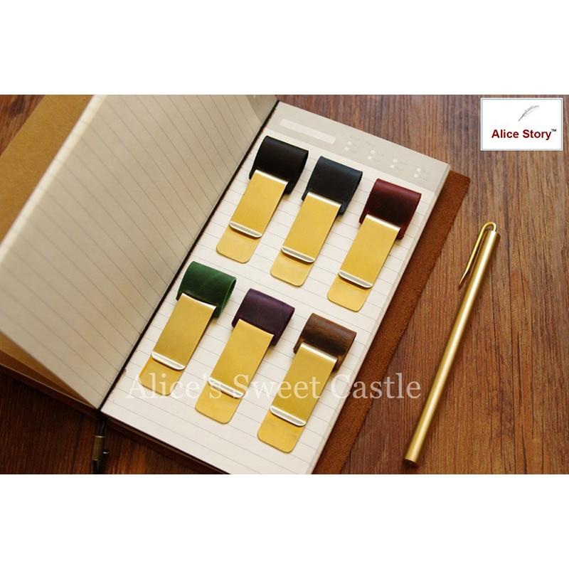 Mässing & läderpennhållare Rostfritt stål metallpennklämma för vintage äkta läderresenär notisbokskohid dagbok present