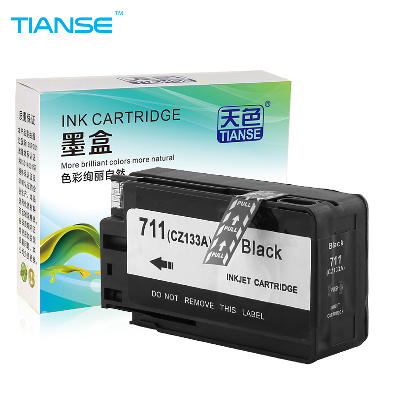 TIANSE 1BK for HP711 for HP 711 new full ink cartridge For HP Designjet T120 T520 for CZ133A CZ130A CZ131A CZ132A Free shipping