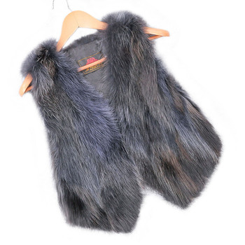 real raccoon fur vest women's fox fur vest short design casual natural fur coat gradient color fur outwear free shipping image