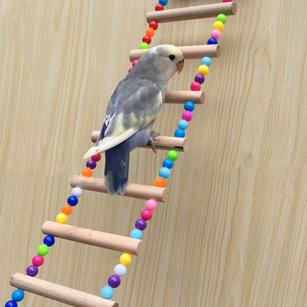 Birds Pets Parrots Ladders Climbing Toy Hanging Colorful Balls With Natural Wood