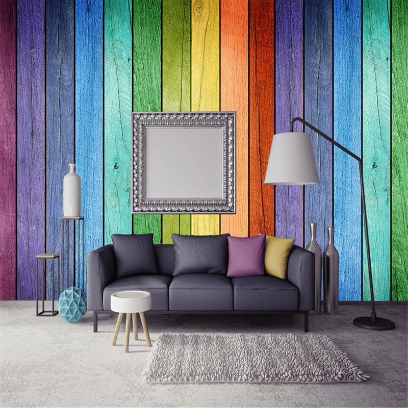 Custom 3d Photo Wallpaper Wall Murals Modern Living Room Decor TV Background Wall Papers Wood Grain Home Wallpaper Rainbow Color junran america style vintage nostalgic wood grain photo pictures wallpaper in special words digit wallpaper for living room