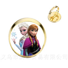Queen Elsa Princess Anna Leather Rings 16mm Glass Cabochon Ring Women Jewelry Gifts For Friends DIY Party Favors For Kids(China)