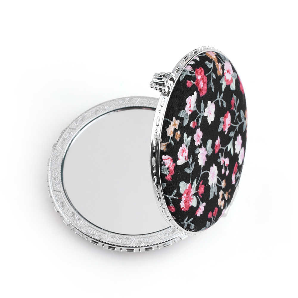 Random Color!1pc Mini Makeup Compact Pocket Floral Mirror Portable Two-side Folding Make Up Mirror Women Vintage Cosmetic Mirror