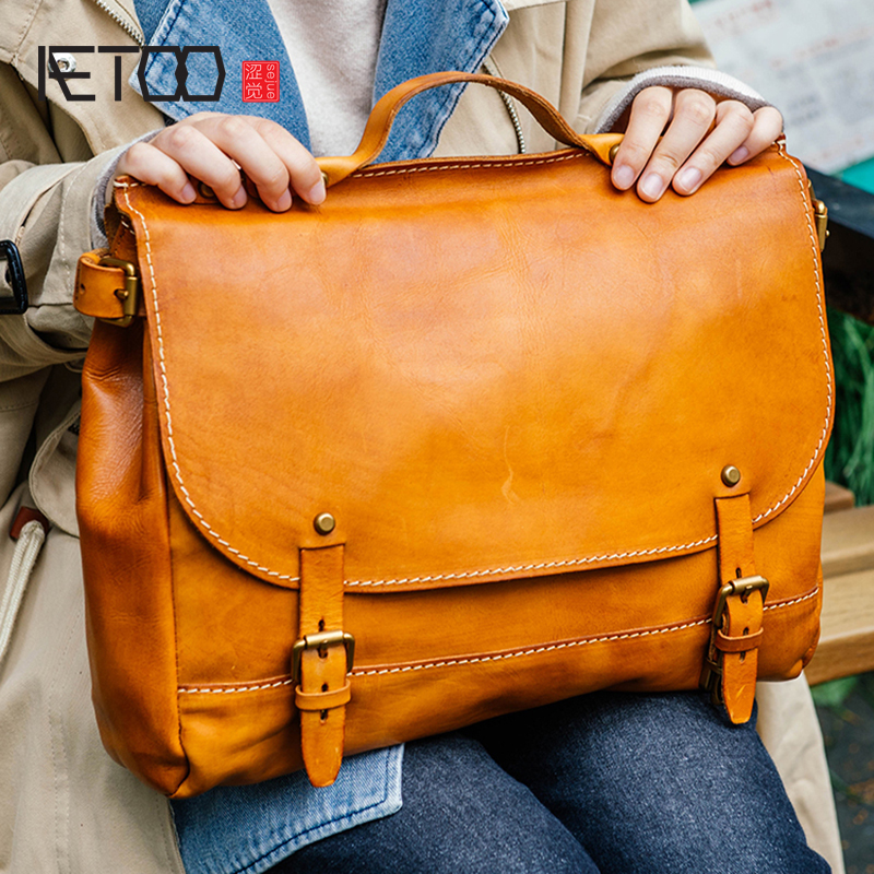AETOO Tanning leather handmade tot bag retro head cowhide Cambridge bag Leather portable shoulder crossbody bag