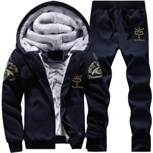 Image 4 - Men Sweatshirts Casual Thick Warm Fleece Hoodies Male Zipper Long Sleeve Solid Hooded Sweatshirt Tracksuit Moletom Masculino