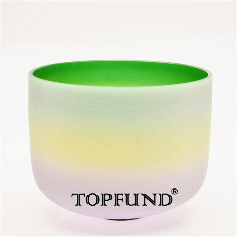 TOPFUND Gradient Color F Heart Chakra Frosted Quartz Crystal Singing Bowl 12'' -Free Mallets and O-Ring topfund red color perfect pitch c adrenals chakra frosted quartz crystal singing bowl 10 with free mallet and o ring