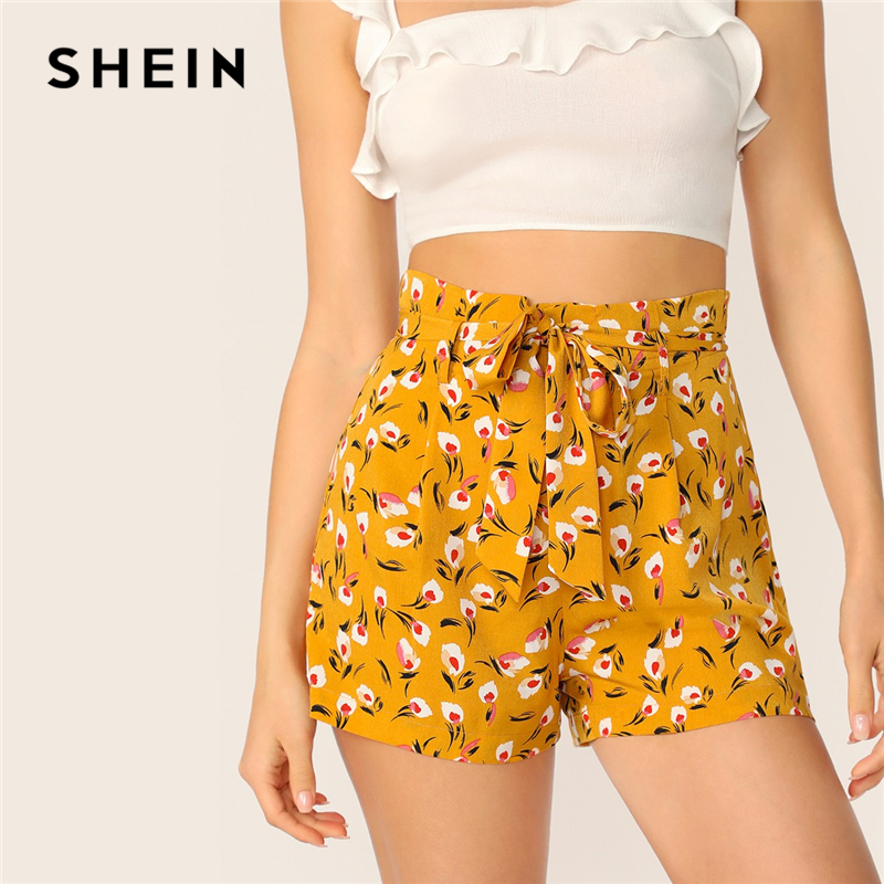SHEIN Bohemian Ginger Ditsy Floral Paperbag Waist Frilled Belted   Shorts   Women Summer High Waist Zipper Fly Casual   Shorts