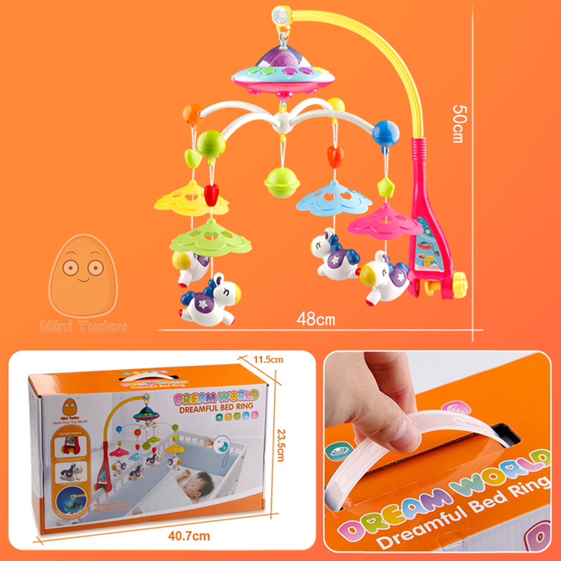 Image 5 - MiniTudou Baby Toys 0 12 Months Crib Mobile Musical Bed Bell With Animal Rattles Projection Cartoon Early Learning Kids Toy-in Baby Rattles & Mobiles from Toys & Hobbies