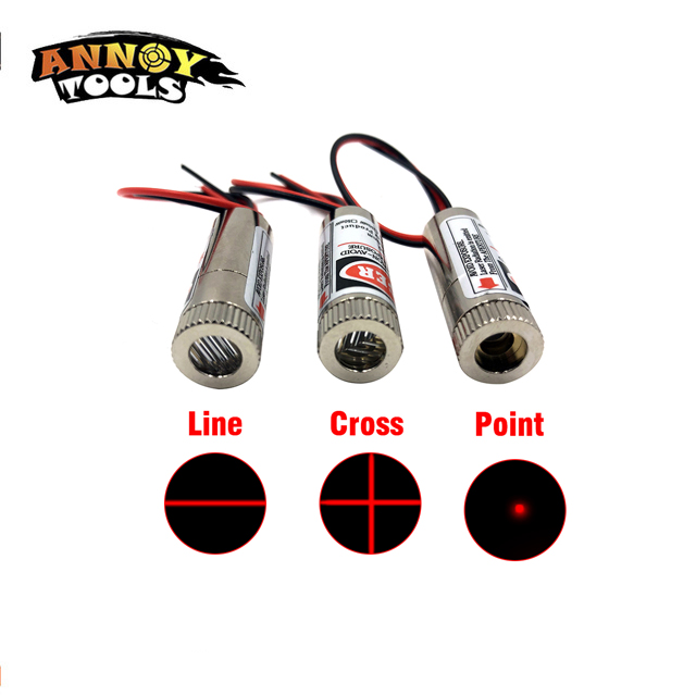 DIY 650nm 5mW Red Point / Line / Cross Laser Module Head Glass Lens Adjustable Focus Laser Industrial Positioning Laser Aiming
