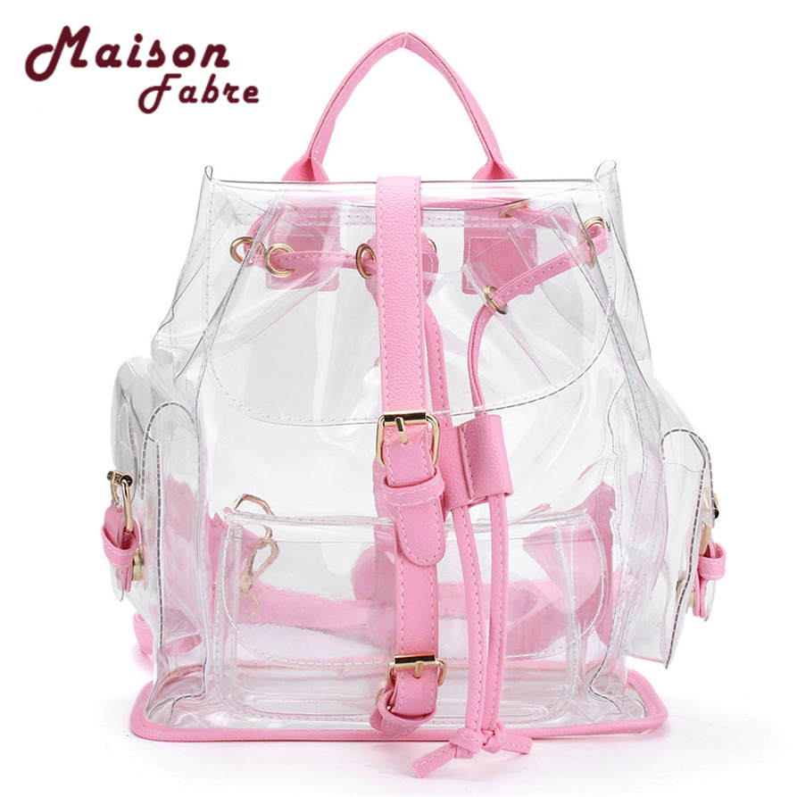 Hot selling Women s Clear Plastic See Through Security Transparent Backpack Bag Travel Bag drop shipping