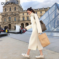 DUOUPA Long Autumn Winter Turtleneck Sweater Dress Women Slim Solid Knitted Sweaters Fashion Casual Korean Pullover Sweater