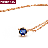 Top Quality ZYN455 Simple Style One Blue Crystal Necklace Rose Gold Color Fashion Jewellery Nickel Free Pendant Crystal