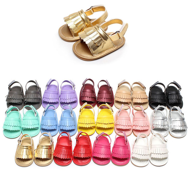 Summer Baby Moccasins Soft Bottom Fringe Candy Color Girls Toddler Shoes Baby Slippers Boys prewalkers Baby Tassel Shoes Leather