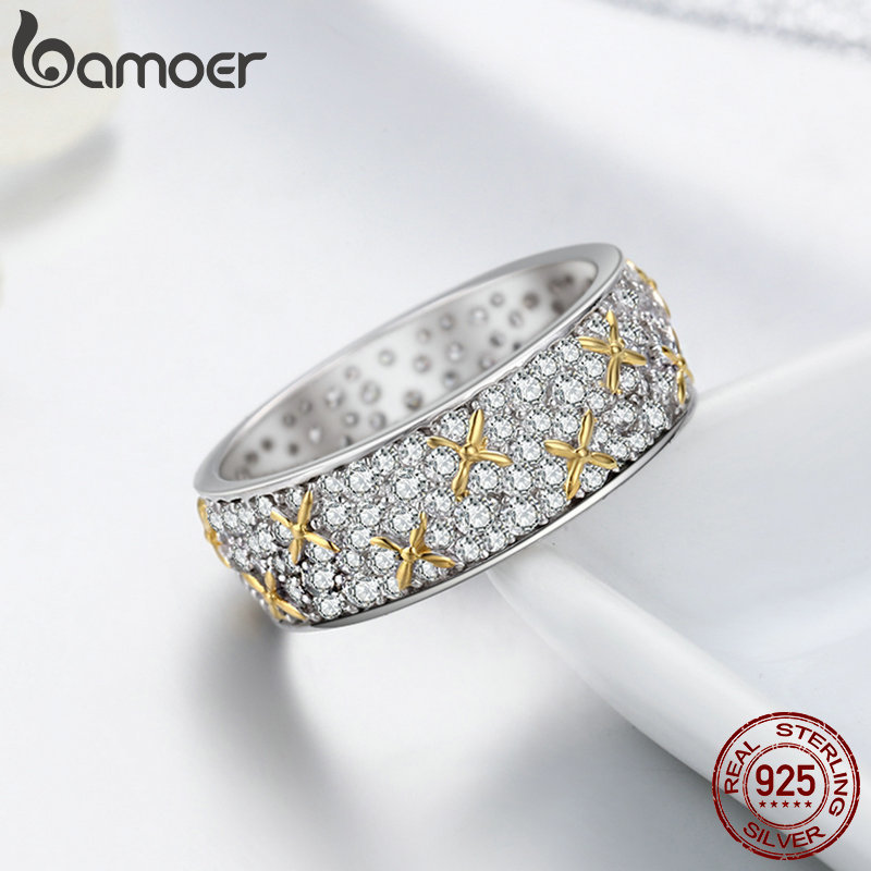 Image 4 - BAMOER Real 100% 925 Sterling Silver Luminous CZ Firefly Lightning Bug Finger Rings for Women Cocktail Engagement Jewelry SCR241-in Rings from Jewelry & Accessories