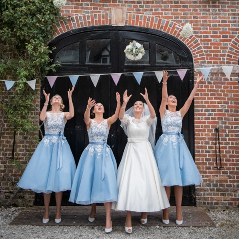 d3657493802d Dreaming Wedding Lace Bridesmaid Dress with White Floral Pattern A line  Satin Sash Knot Bow Chiffon Baby Blue Bridesmaid Dress-in Bridesmaid Dresses  from ...