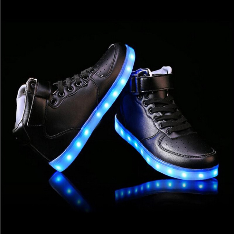 2017 women lights up led luminous shoes high top glowing boots with new simulation sole charge for adults neon basket in Ankle Boots from Shoes