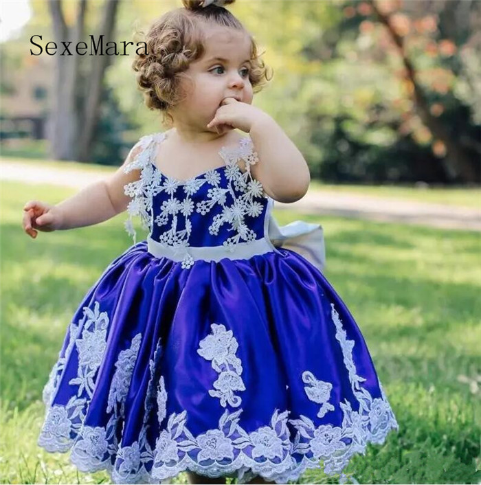 Royal Blue Baby Girls Birthday Dress White Lace with Big Bow Ball Gown Flower Girls Dresses for Wedding Party Custom Made new high quality fashion excellent girl party dress with big lace bow color purple princess dresses for wedding and birthday