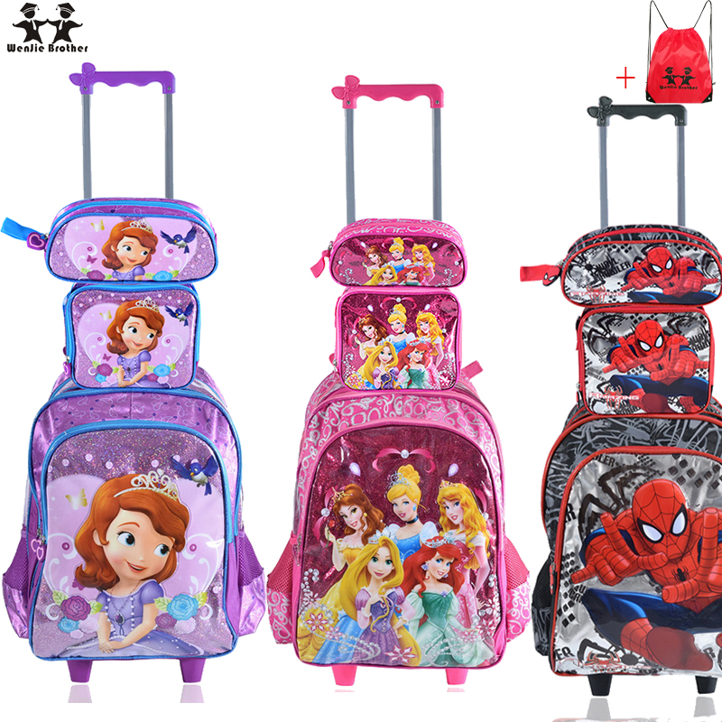 wenjie brother Children Mochilas Kids school bags With Wheel Trolley Luggage For boys Girls backpack Mochila