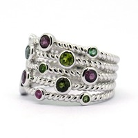 Well Made Solid 925 Sterling Silver Tourmaline Garnet Gems Unque Ring