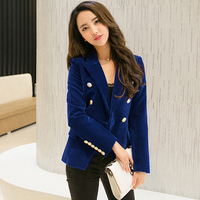 Spring Autumn new Slim woman gold velvet solid color small suit jacket female leisure blazer/ velvet metal button suit blazer