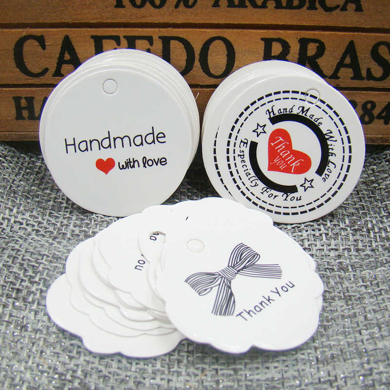 100 piezas por lote 3 cm papel blanco etiqueta colgante gracias etiqueta con cinta para regalos embalaje/boda /Exhibición de etiquetas de productos de joyería