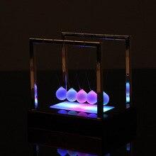Newton LED Light Swing Balls Ornaments Balance Pool Physical Energy Conservation Model Metal Craft Living Room Decor Gift Toys