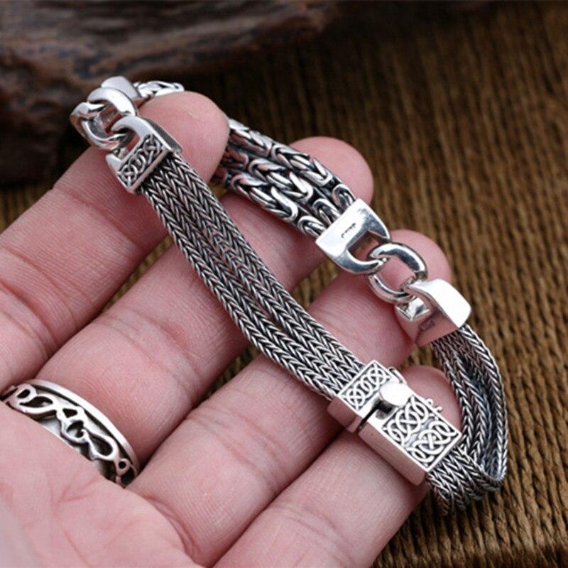 925 Браслеты стерлингового серебра для Для мужчин Для женщин Винтаж S925 твердый тайский серебряный цепи браслеты, бижутерия, подарок на день р... - 5