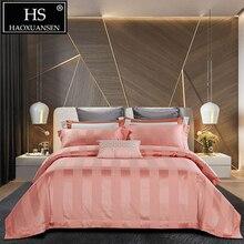 HS Queen King Size Pink Striped Crown Jacquard 4pcs Bedding Sets 140S 100% Cotton Comforter Couple Duvet Cover Bed Sheets Set