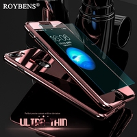 Roybens Luxury Bling Metal Skin Plating Hard Front Back Case For iPhone 6 6S Plus iPhone 7 Case 5S 360 Full Cover + Temper Glass