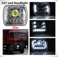 2PCS X 5X7 Led Headlight 55w Led Car Headlight Square Emark Truck LED Headlight With Halo ring Led