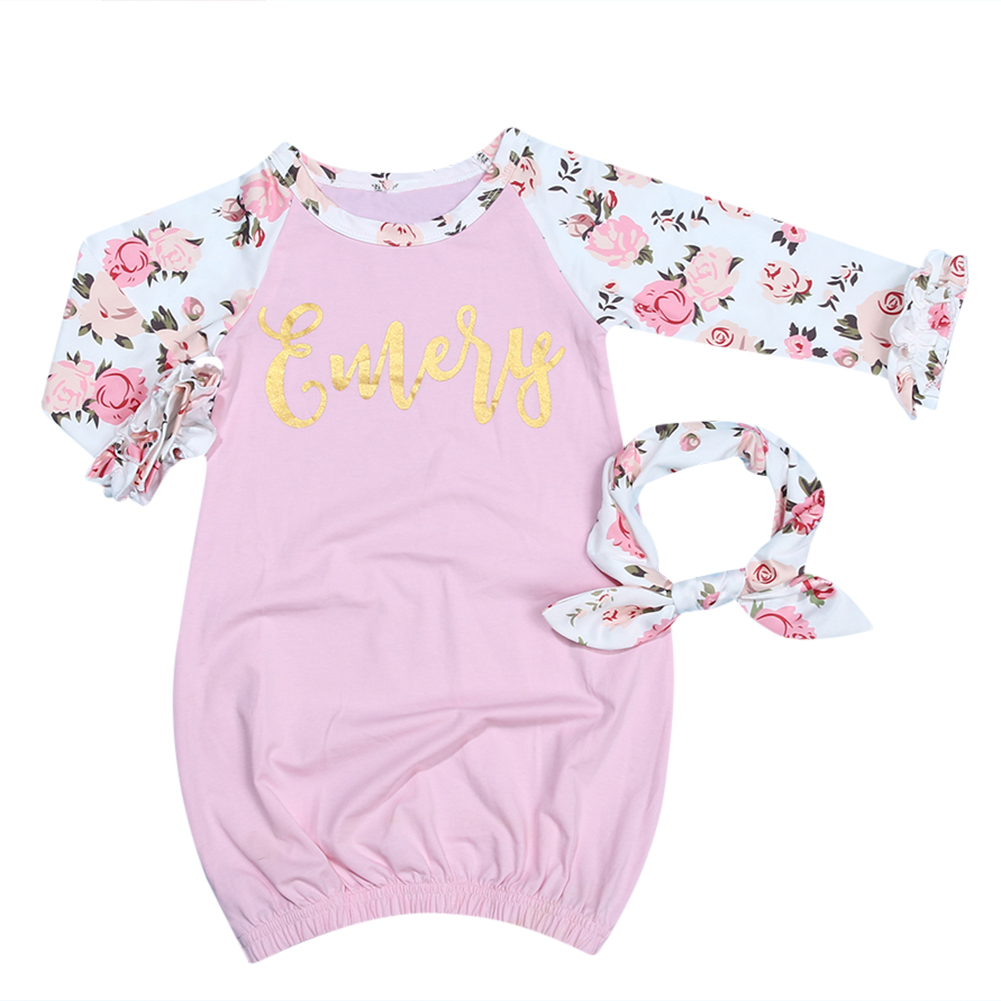 2pcs Baby Sleep Gowns Baby Infant Girls Pink Printing Long Sleeve ...