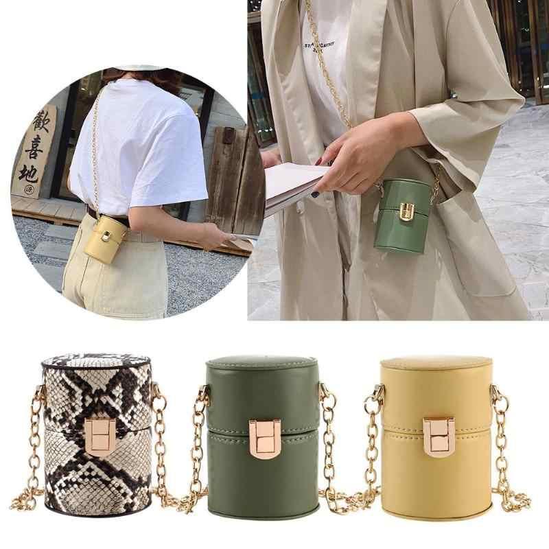 Mini Zylinder Förmigen Schulter Messenger Handtaschen für Frauen INS Snake Print PU Kette Umhängetaschen mit die Eimer Abend siste