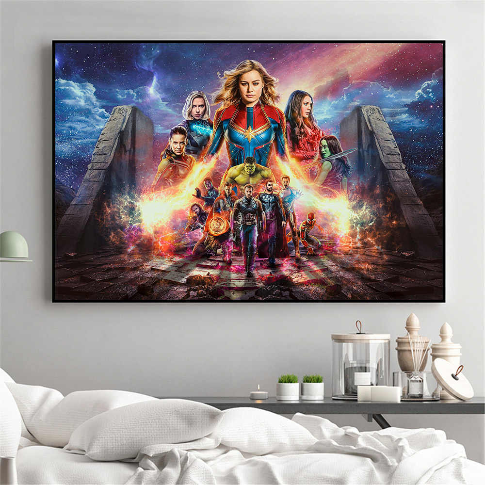 Movie Poster Captain Marvel Posters and Prints Wall Pictures for Living Room Home Decoration End Game Canvas Prints