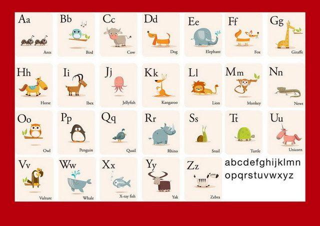"""018 onderwijs alfabet dieren kids leren engels onderwijs 20 """"x 14"""