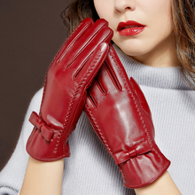 Genuien Leather Gloves Female Autumn Winter Warm Velvet Lined Fashion Simple Touchscreen Womans Sheepskin MLZ068