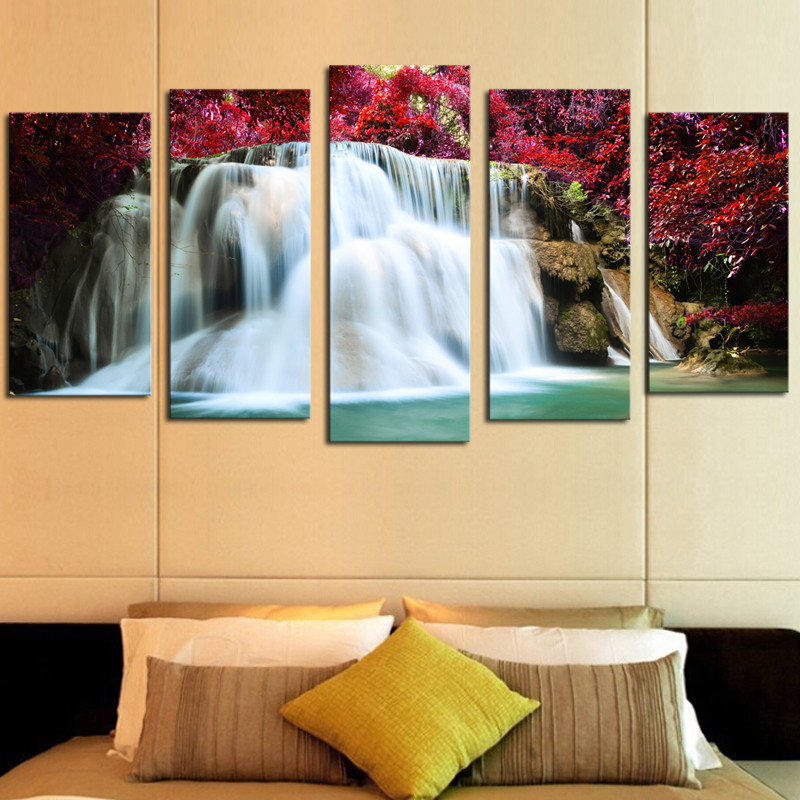 Framed 5 Panels Drop shipping Print on Canvas Painting Room DECORATION WALL PAINTING WALL ART CANVAS Forest Waterfall in Painting Calligraphy from Home Garden