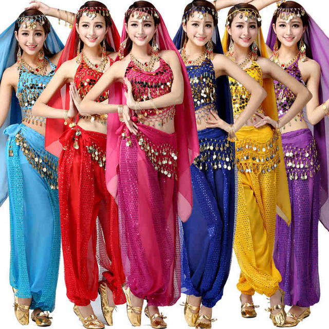 Комплекты из 4 предметов бюстгальтер Топ и юбка Египет Belly Танцы костюмы Костюмы Болливуд Индийский платье живота Танцы платье Костюмы для т...