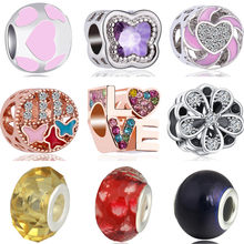 High Quality Crystal Stars Music Flowers Umbrella Bird Alloy Beads Charms Fit Original Pandora Bracelets DIY Pulsera for Women(China)