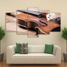 Wall Art Canvas HD Prints Pictures 5 Pieces Violin Paintings Classical Music Instrument Posters Modular Living Room Decor Framed
