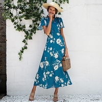 Simplee Boho Floral Print Maxi Dress Women Sexy V Neck Wrap Long Dress Ruffle Short Sleeve