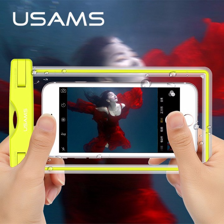 USAMS waterproof phone bag case for iphone 8 7 , Transparent pouch beach dry uni